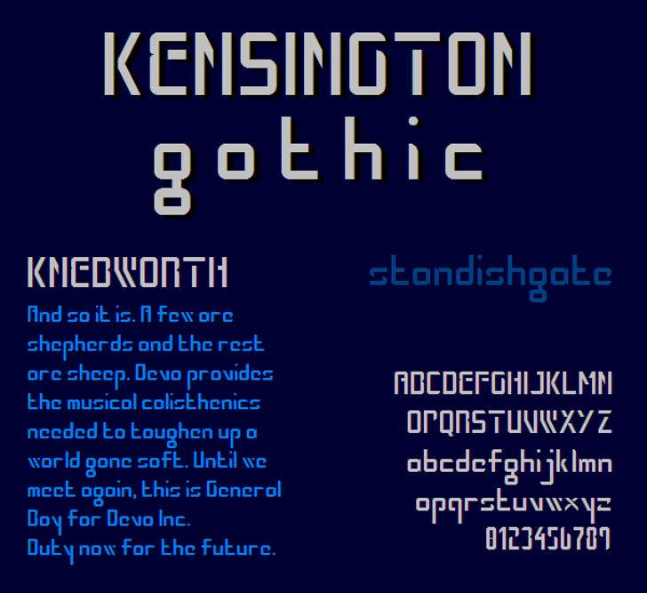Kensington Gothic NBP Font text design