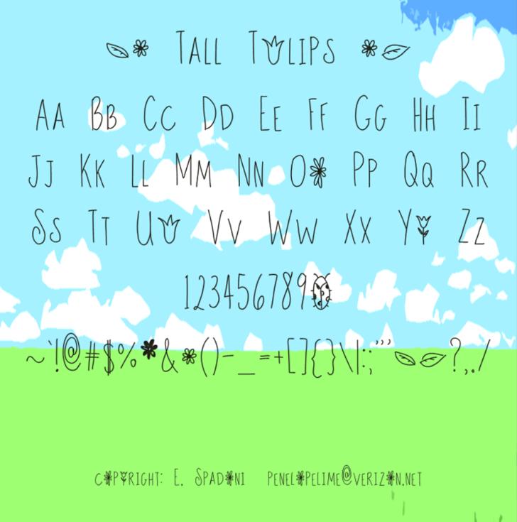 Tall Tulips Font handwriting cartoon