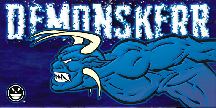 Demon Sker Font cartoon drawing