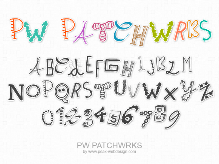 PWPatchwrks Font text handwriting