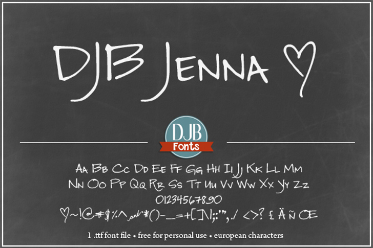 DJB Jenna Font handwriting text