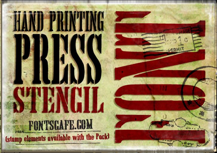 Hand Printing Press Stencil_dem Font poster sign