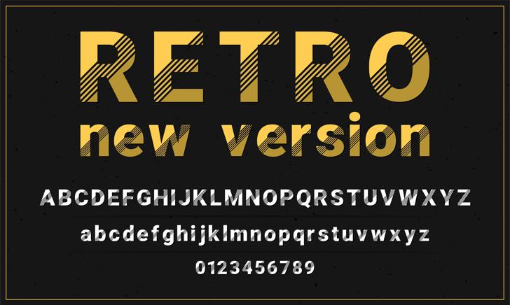 Retro New Version Font text