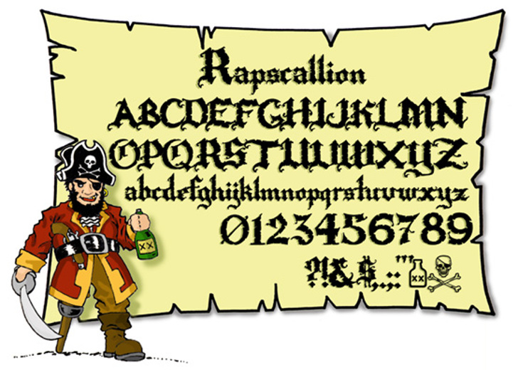 Rapscallion Font cartoon illustration