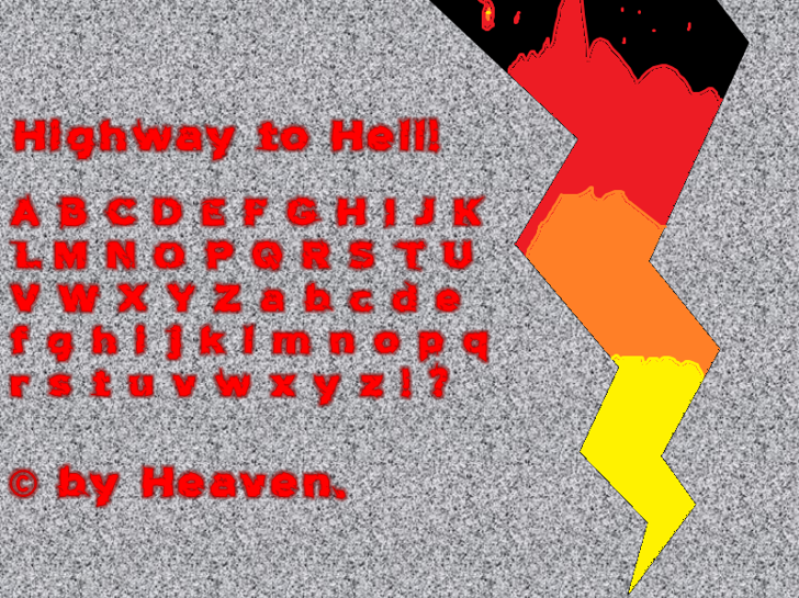 Highway to Hell! Font screenshot vector graphics