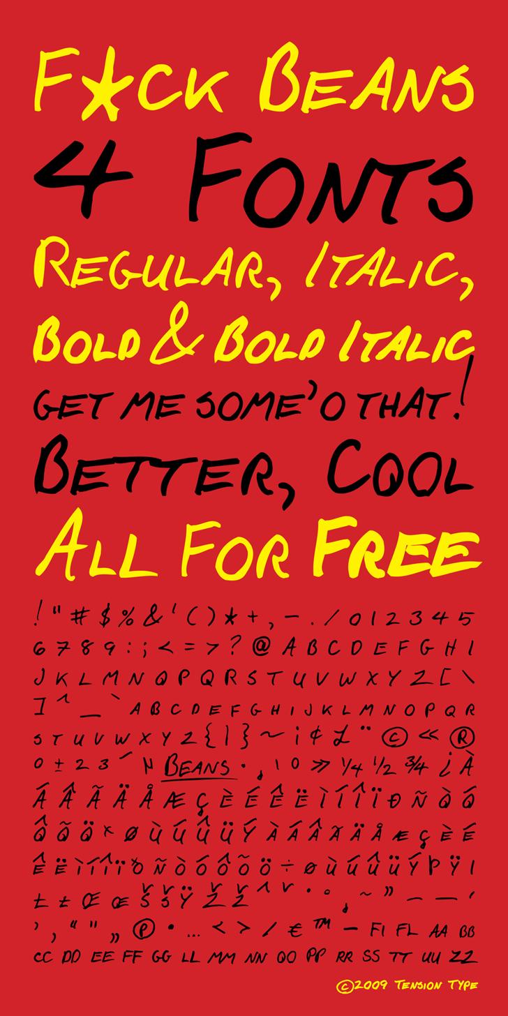 F*ck Beans Font handwriting text
