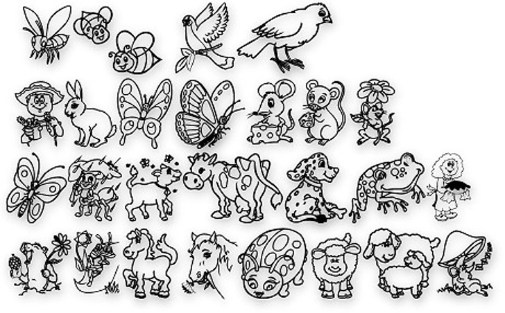 Critters1DC Font drawing cartoon