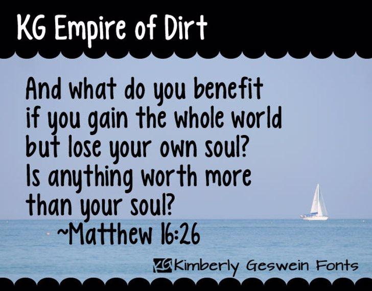 KG Empire of Dirt Font text ship