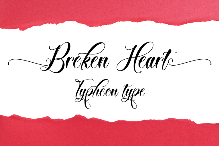 Broken Heart Font handwriting design