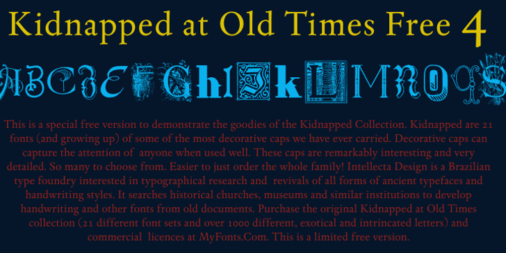 Kidnapped At Old Times Free 4 Font screenshot book