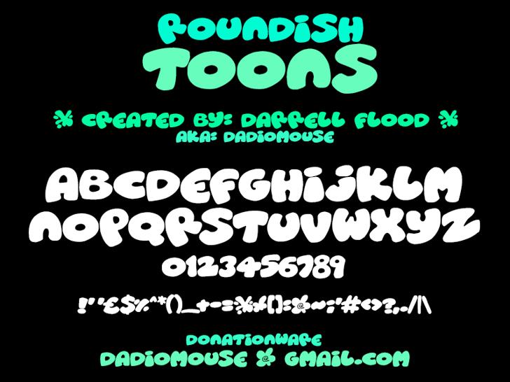 Roundish Toons Font screenshot design