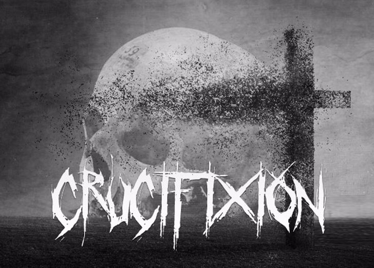 Crucifixion Font drawing black and white