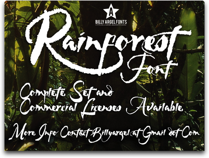 RAINFOREST Font text handwriting