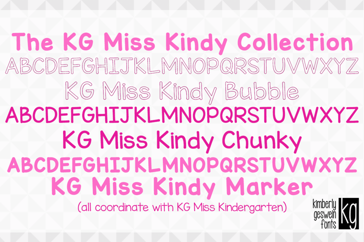 KG Miss Kindy Bubble Font design text