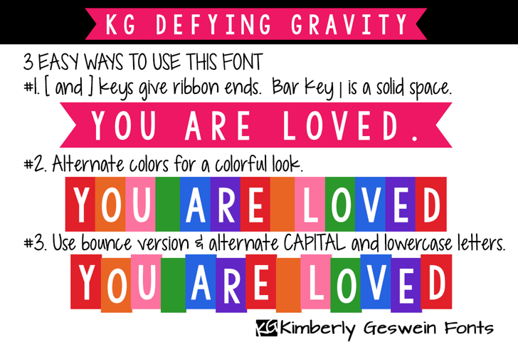 KG Defying Gravity Font text colorfulness