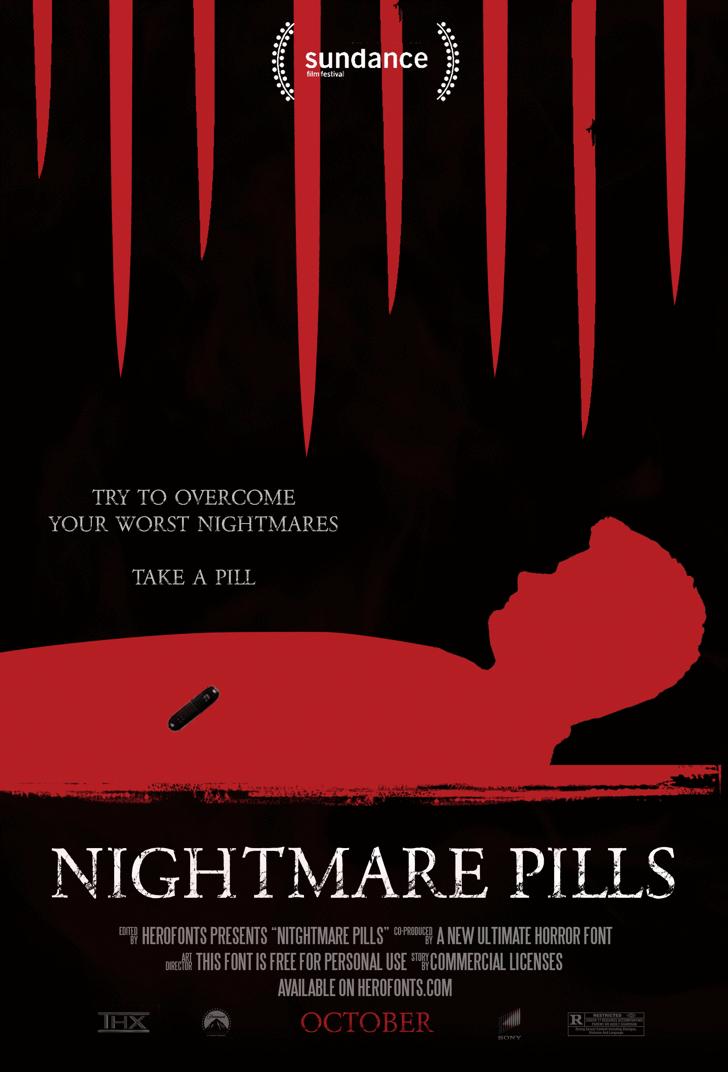 NIGHTMARE PILLS Font poster screenshot