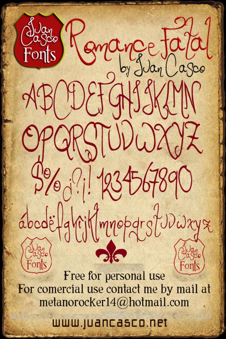 Romance Fatal Font handwriting text