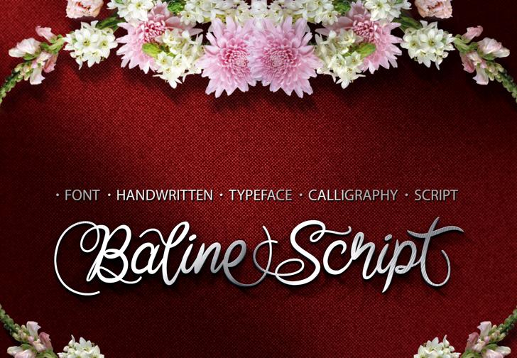 Baline Script Font flower design