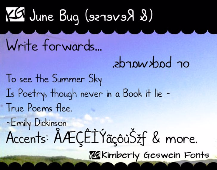 KG June Bug Font text handwriting