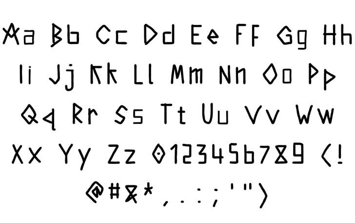 kintergarden Font Letters Charmap