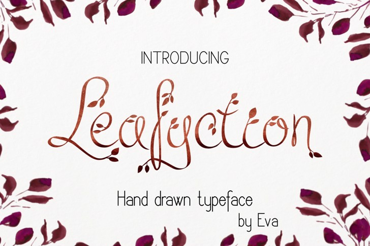Leafyction Font handwriting text