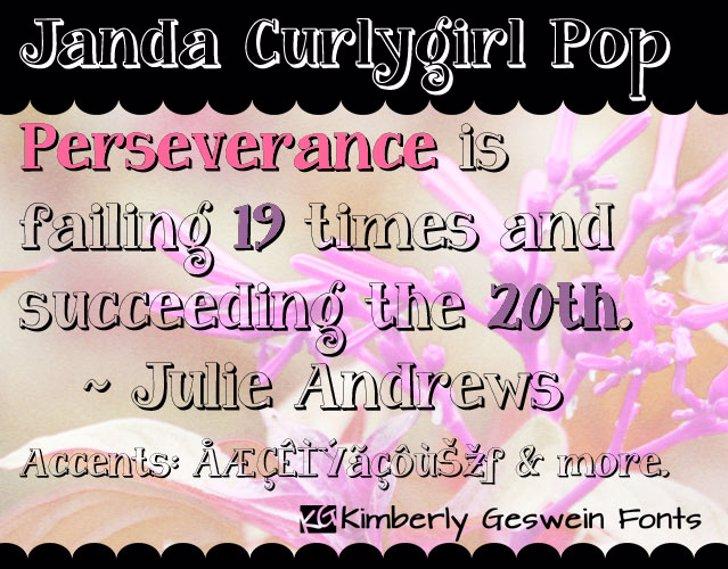 Janda Curlygirl Pop Font text screenshot