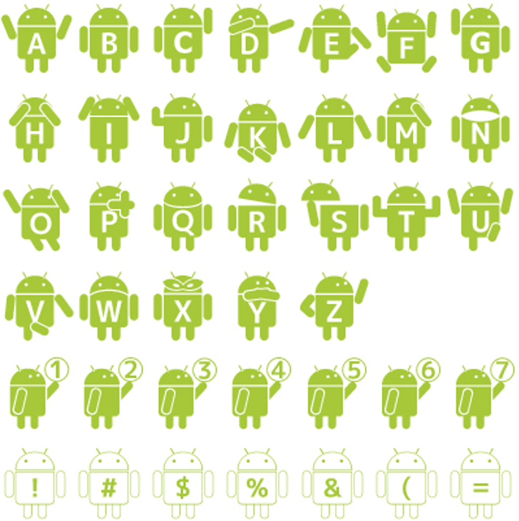 Droid_Robot Font cartoon illustration