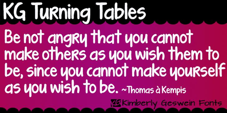 KG Turning Tables Font magenta font
