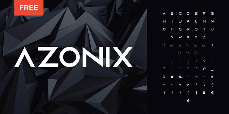 Azonix Font screenshot design