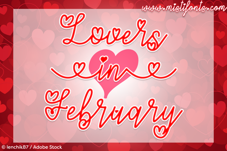 Lovers in February Font design graphic
