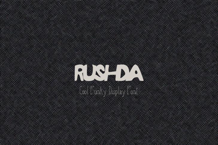 RUSHDA Font design logo