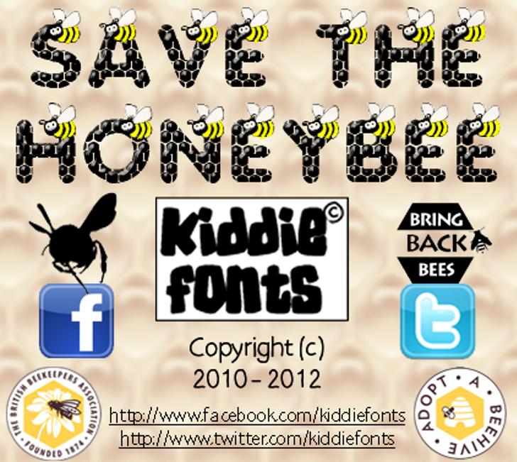 SAVE THE HONEYBEE Font cartoon screenshot