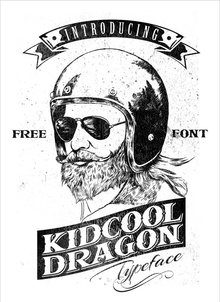 KIDCOOL DRAGON Font text drawing