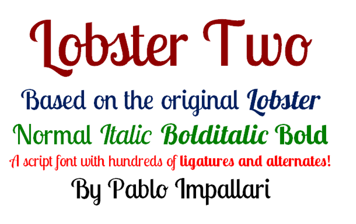 Lobster Two Font screenshot font
