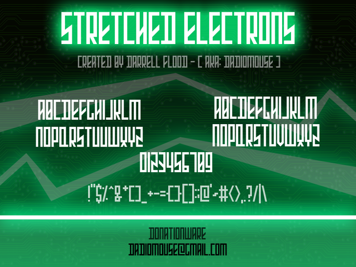 Stretched Electrons Font green screenshot