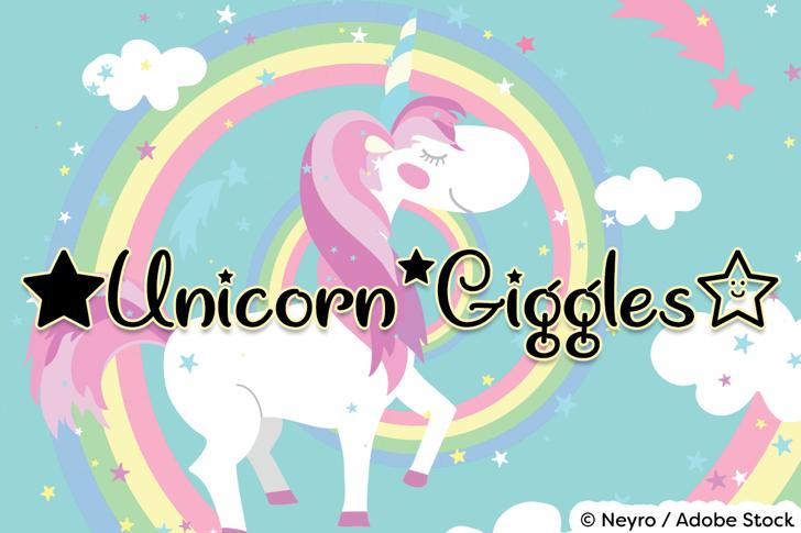 Unicorn Giggles Font cartoon graphic