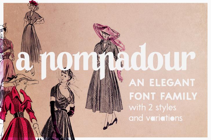 A Pompadour Sample Font dress cartoon