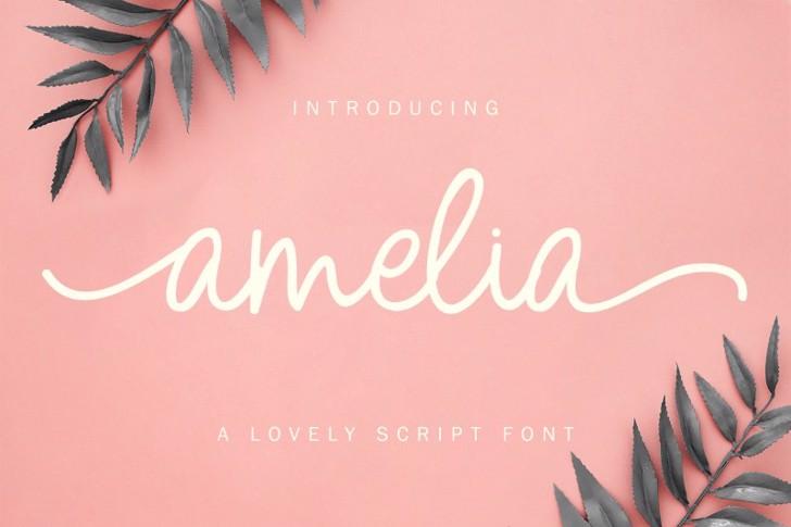 Amelia Script Font poster