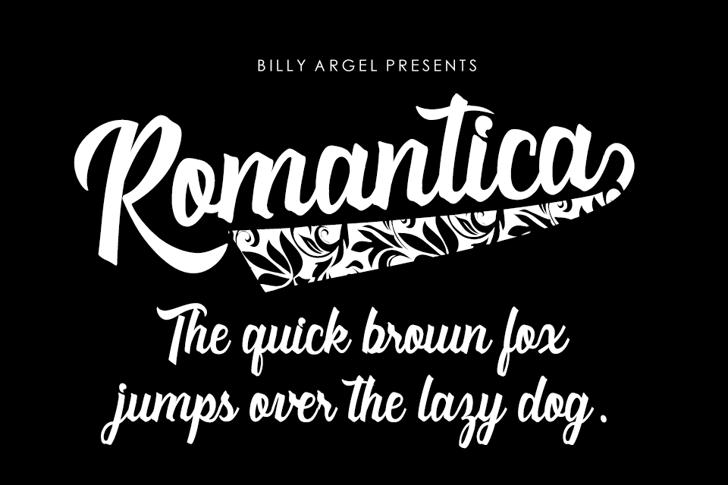 Romantica Personal Use Font design text