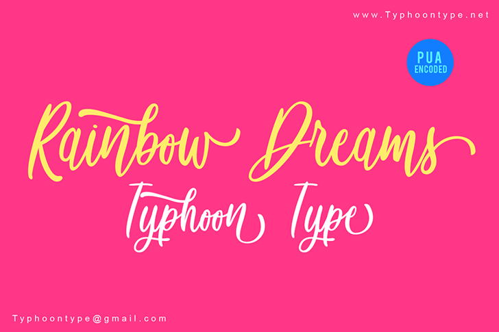 Rainbow Dreams - Personal Use Font design text