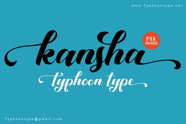 Kansha Font design text
