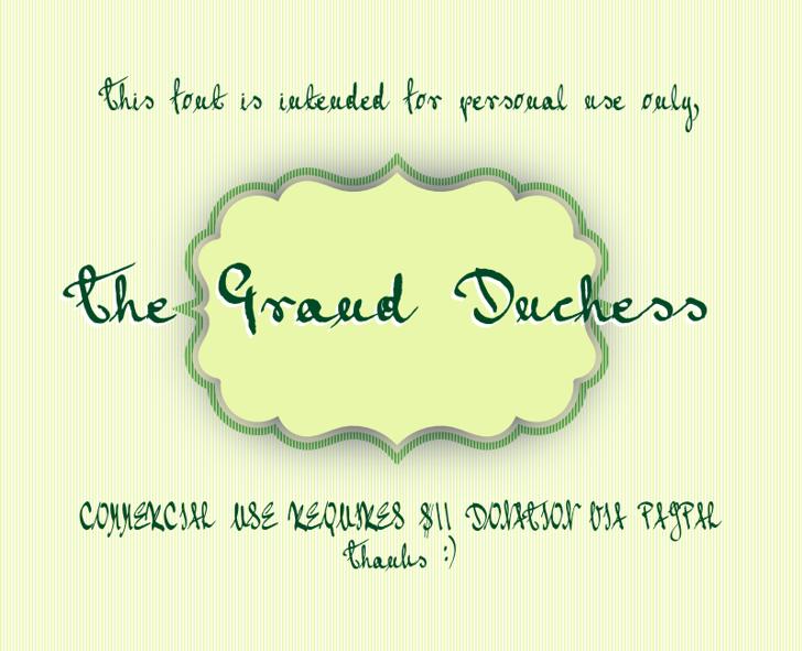 Grand Duchess Font text screenshot