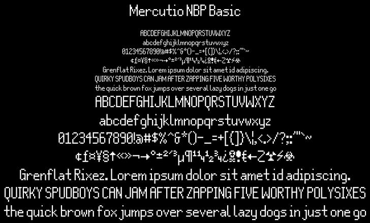 Mercutio NBP Basic Font font text