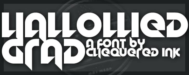 Hallowed Grad Font design screenshot
