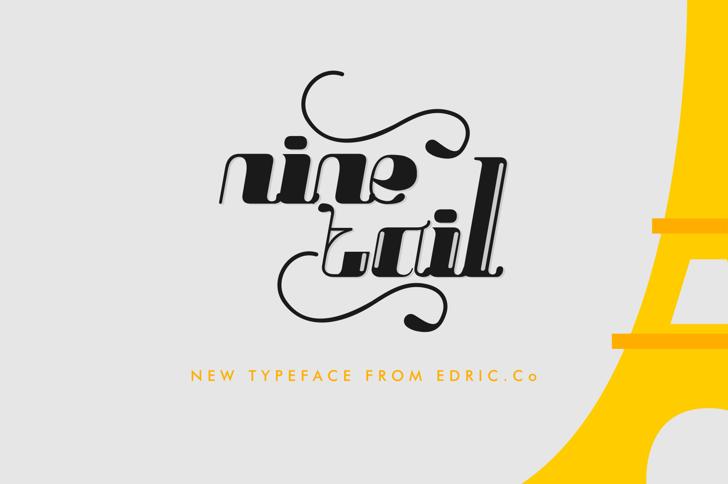 Nine tails inline Font design typography