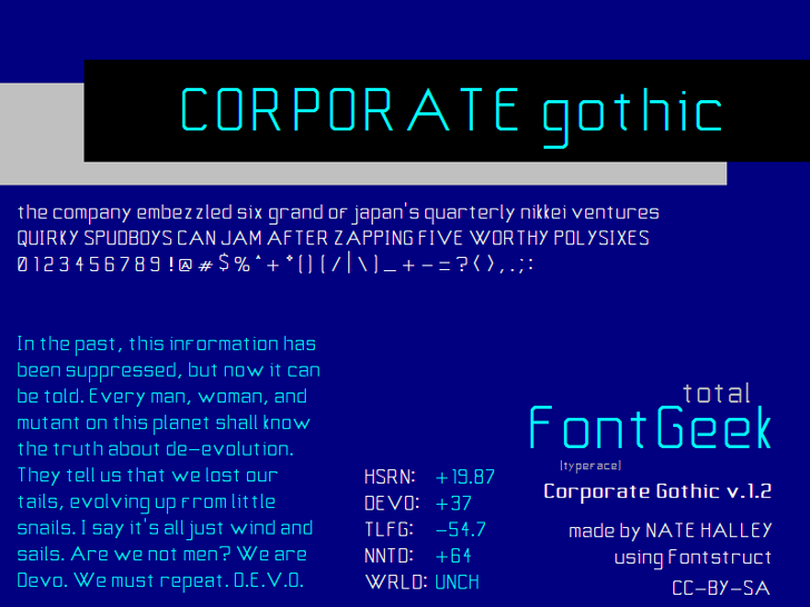 Corporate Gothic NBP Font design text