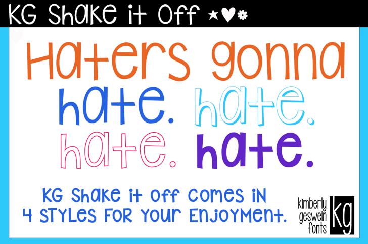 KG Shake it Off Font font graphic