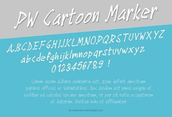 PWCartoonMarker Font screenshot text