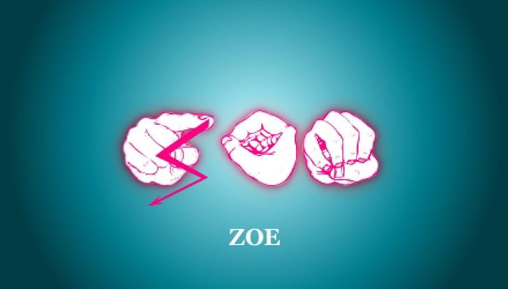zoefingerabc Regular Font design abstract