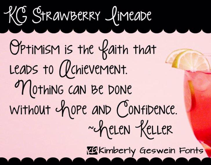KG Strawberry Limeade Font text handwriting